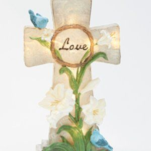 Illuminated Inspirational Cross with Floral Detail